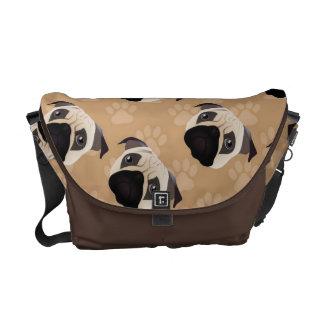 Sweet Pug on Tan Pawprint Messenger Bag