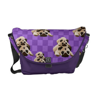 Sweet Pug Pals on Bright  Purple Squares Courier Bags