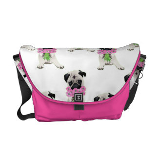 Sweet Pug with Pink FLowers Courier Bag