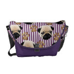 Sweet Pugs and Paws on Purple Stripes 2 Commuter Bags