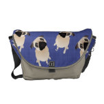 Sweet Pugs on Blue Commuter Bags