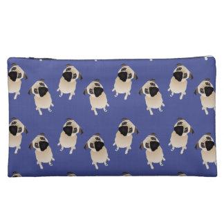 Sweet Pugs on Blue Makeup Bag