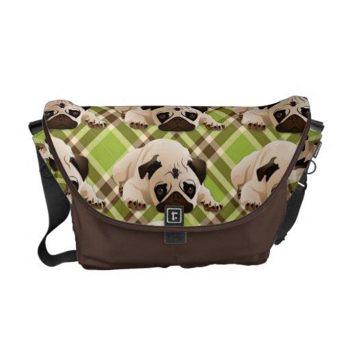 Sweet Pugs on Green and Brown Plaid Messenger Bag