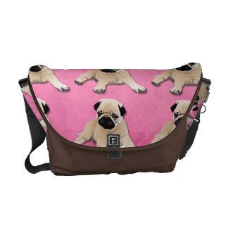 Sweet Pugs on Pink Messenger Bag