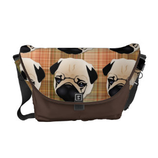Sweet Pugs on Plaid Courier Bags