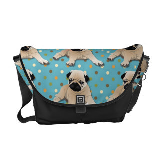 Sweet Pugs on Polka Dots Courier Bags