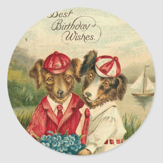 Sweet Pups Best Birthday Wishes Classic Round Sticker
