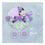 Sweet Purple and Green Baby Shower Custom Invitations