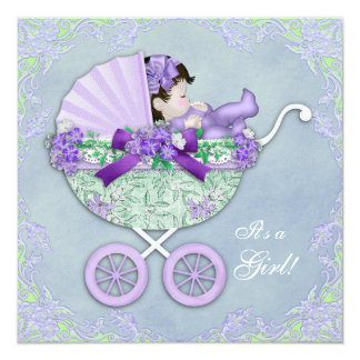 Sweet Purple and Green Baby Shower Invitation