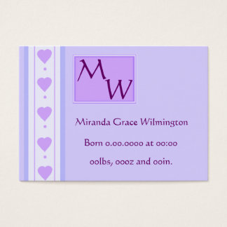 Sweet Purple Baby Birth Announcement Card