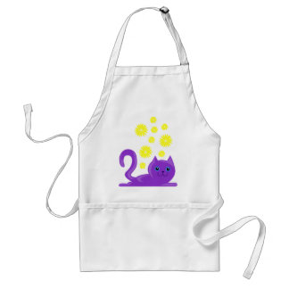 sweet purple cat with flowers adult apron