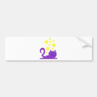 sweet purple cat with flowers bumper sticker