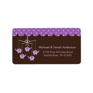 Sweet Purple Elephant Mobile Address Label