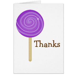 Sweet Purple Lollipop Thank You Card