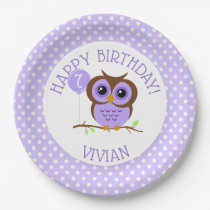 Sweet Purple Owl Birthday Paper Plate