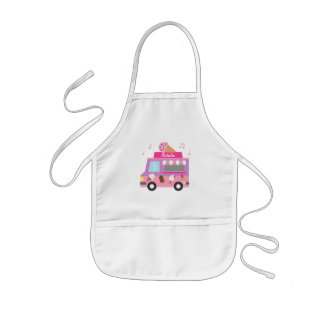 Sweet Purple Pink Ice Cream Truck For Girls Apron