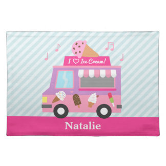 Sweet Purple Pink Ice Cream Truck For Girls Cloth Placemat