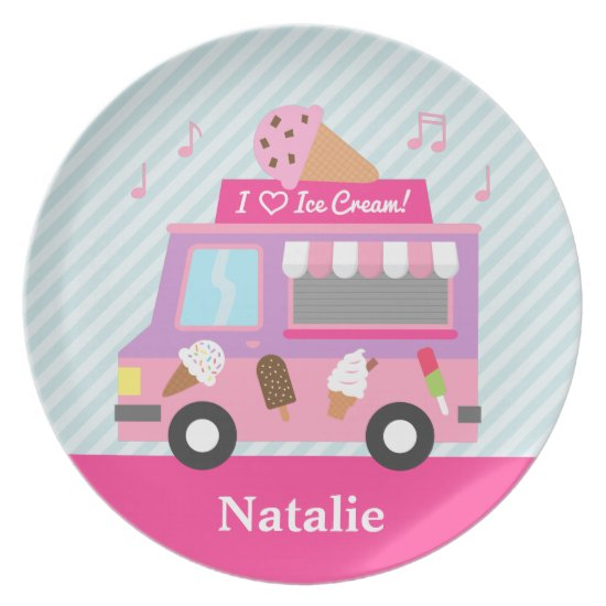 Sweet Purple Pink Ice Cream Truck For Girls Plate