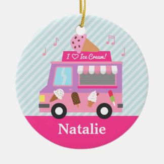 Sweet Purple Pink Ice Cream Truck Girls Room Ceramic Ornament