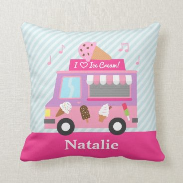 RustyDoodle Sweet Purple Pink Ice Cream Truck Girls Room Throw Pillow
