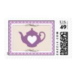 Sweet Purple Teapot Tea Party Postage Stamp