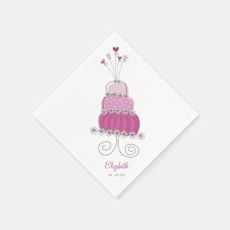 Sweet Purple Wedding Cake Chic Bridal Shower Party Paper Napkin
