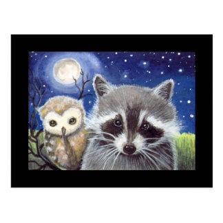 Sweet Raccoon and Owl Art Postcard