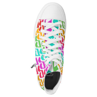 Sweet Rainbow Heart Notes Printed Shoes