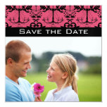 Sweet Raspberry & Black Chandelier Save the Date Custom Announcements