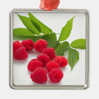 Sweet raspberry isolated ON white background Square Metal Christmas Ornament