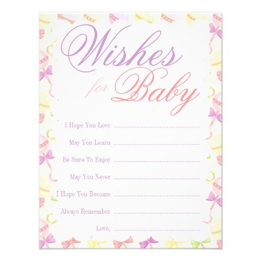 ... adorable wishes for baby card is fun for baby shower guests to