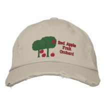 Sweet Red Apples and Apple Tree Fruit Orchard Farm Embroidered Baseball Cap