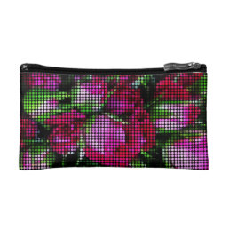 Sweet red baby rosebuds dot mosaic cosmetic bag