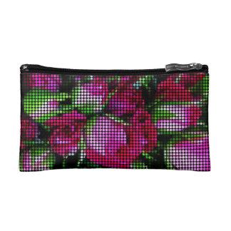 Sweet red baby rosebuds dot mosaic cosmetic bag