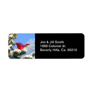 Sweet Red Cardinal In Snow Covered Tree Label