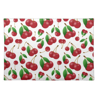 sweet red cherries fruit pattern cloth placemat