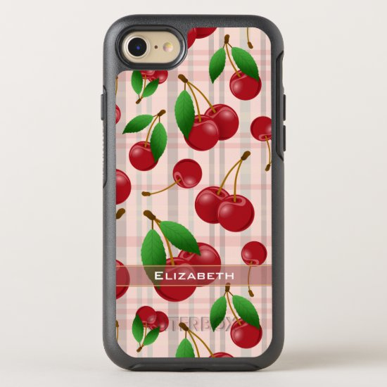 sweet red cherries on pastel plaid OtterBox symmetry iPhone SE/8/7 case