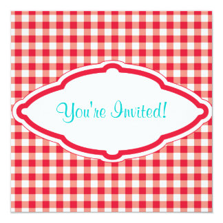 "Sweet Red Gingham Birthday Party Invitation 5.25"" Square Invitation Card"