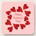 Sweet red heart frame on pink Valentine's day Beverage Coasters