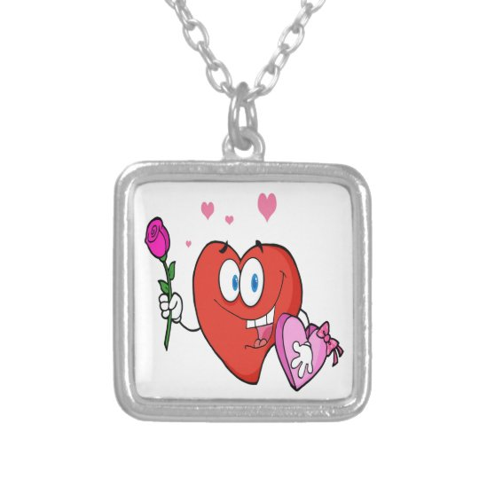 Sweet Red Heart Man Silver Plated Necklace