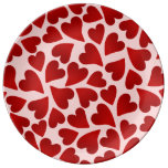 Sweet red hearts on pink Valentines day Porcelain Plates
