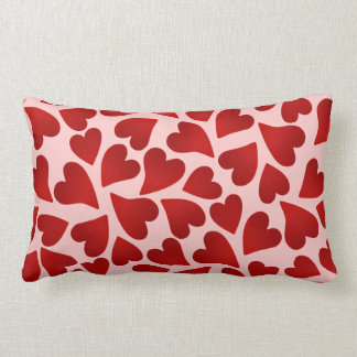 Sweet red hearts on pink Valentines day pretty Lumbar Pillow