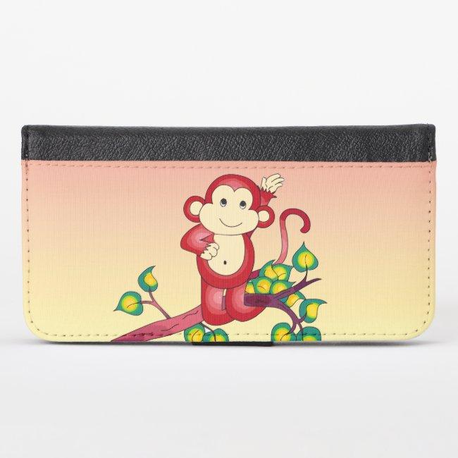 Sweet Red Monkey Animal iPhone X Wallet Case