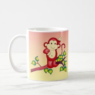 Sweet Red Monkey on Orange and Yellow Animal Mug