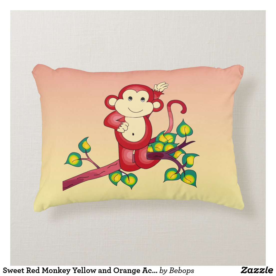 Sweet Red Monkey Yellow and Orange Accent Pillow