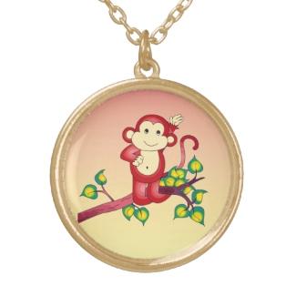 Sweet Red Orange Yellow Monkey Animal Necklace