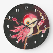 Sweet Red Owl Large Clock