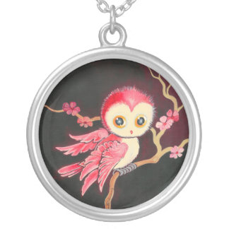 Sweet Red Owl Round Pendant Necklace