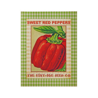 Sweet Red Peppers Vintage Kitchen Art Wood Poster