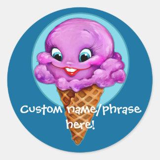 Sweet Red Raspberry Ice Cream Girl Classic Round Sticker